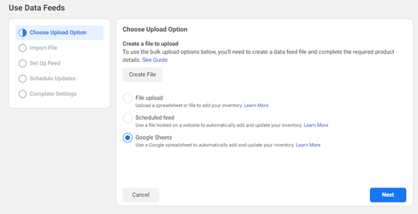 Facebook feed upload option