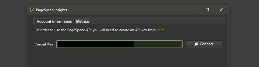 Enter PageSpeed Insights API Key