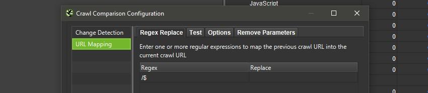 Mapping Trailing and Non Trailing Slash URLs in Crawl Comparison