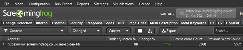 Content Change Detection